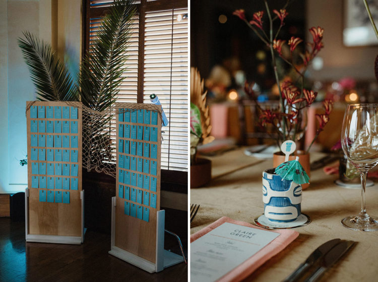 The reception was truly tiki, colorful and tropical, and the stationery was bright