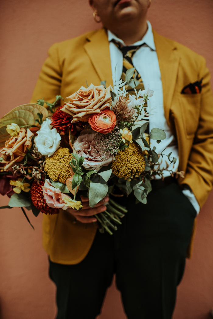 The second wedding bouquet was with mustard, rust and blush pink blooms