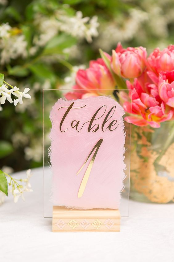 make pretty acrylic table numbers with watercolor and pretty decals for your wedding