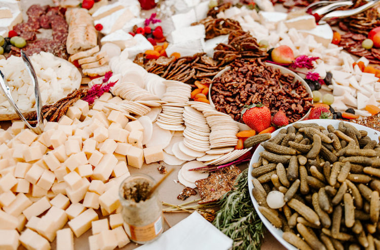 The bride worked at a cheese store and wanted to have a gorgeous grazing table