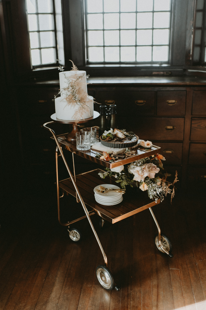 The wedding cake table was substituted with a cart