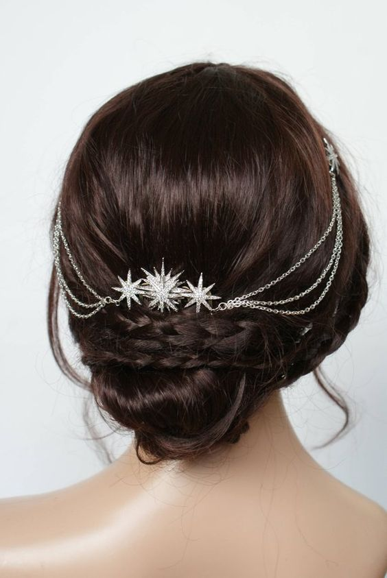 a silver hair wine with large silver stars will accent not only half updos or hair down but also updos