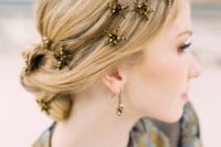 13 dark gold star hair vine and matching earrings for a whimsical look of a celestial bride