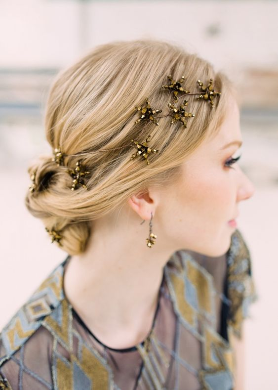 dark gold star hair vine and matching earrings for a whimsical look of a celestial bride