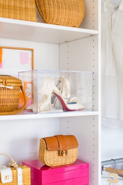 store your wedding shoes in a box, better a cardboard one but it can be a sheer acrylic one, too