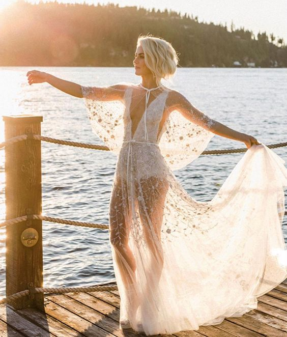a naked wedding gown with floral embroidery and a white bodysuit underneath will feel breathing