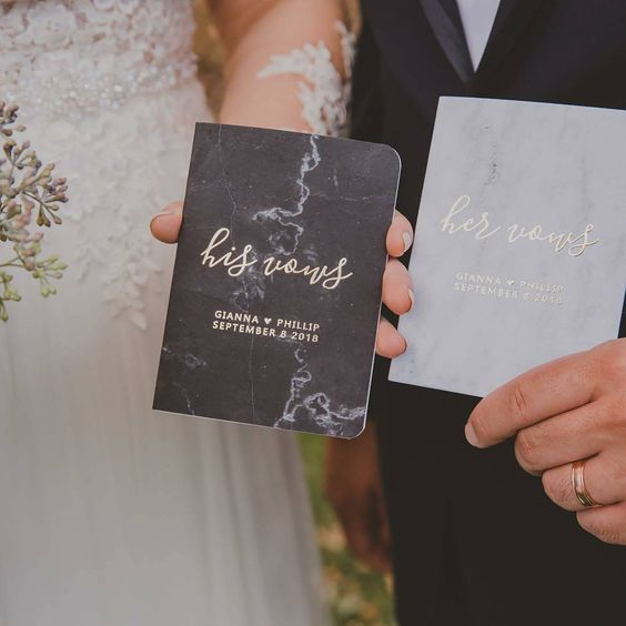 make your own vow books and work at the vows themselves