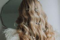 16 oversized star and thunderbolt rhinestone hair clips are amazing on wavy long hair