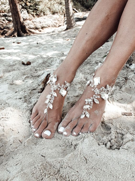 heavily embellished chain and crystal barefoot sandals for a boho or glam beach bride