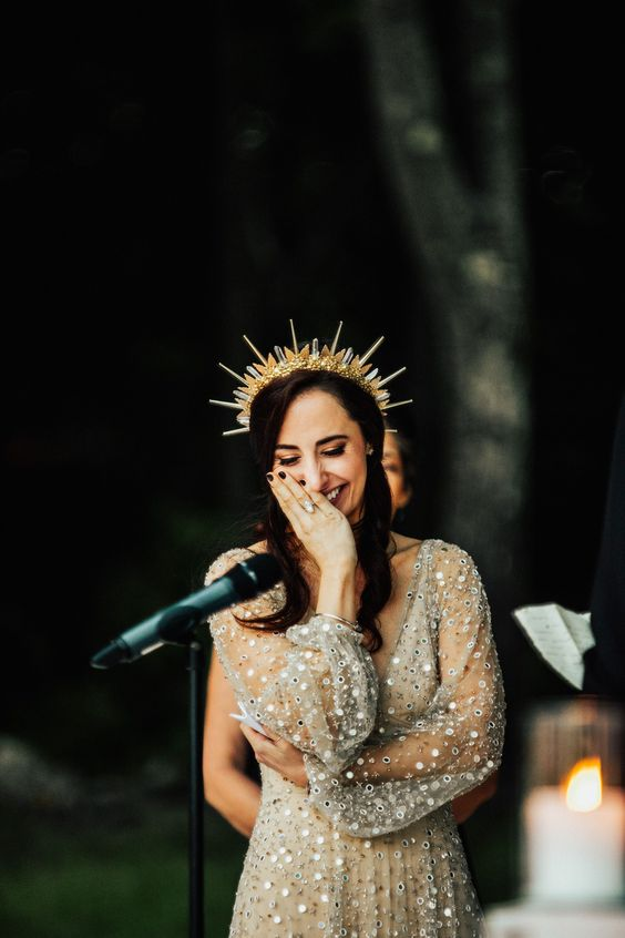 a gold and silver spiky crown with beads is a gorgeous statement headpiece for a celestial bride