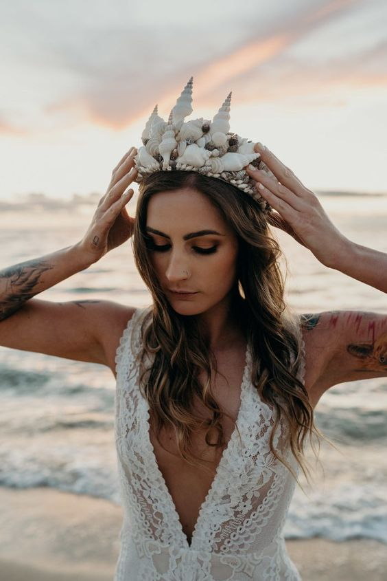 a fantastic beach seashell wedding crown will highlight even the most simple and modest bridal look