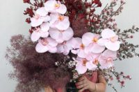 smoke bush, orchids, cherry blossom and Kangaroo paw for a statement wedding centerpiece or a beautiful wedding bouquet