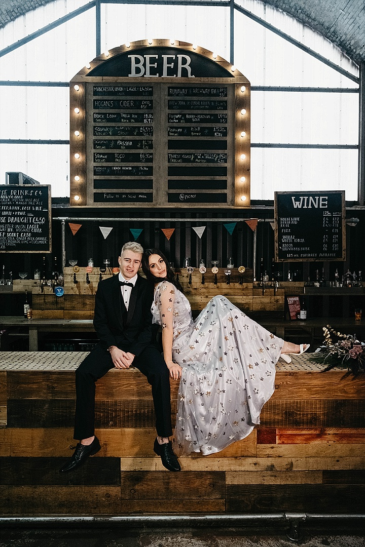 This modern celestial wedding shoot was edgy and fashionable, with many bold details and decor