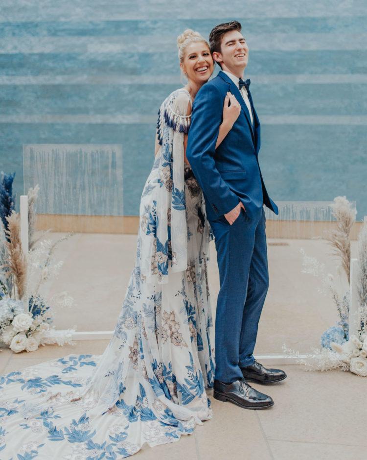 Blue Indigo Wedding Shoot At An Art Museum