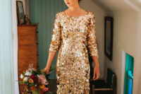 02 The bride was wearing a fantastic gold sequin wedding dress wiht shot sleeves
