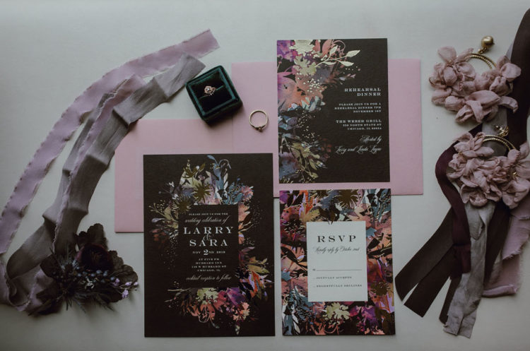 The moody floral invitation suite totally reflected the vibes of the wedding