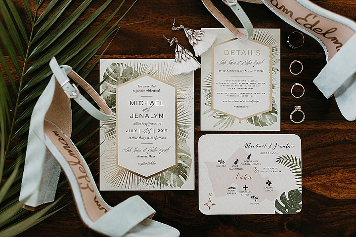 The wedding stationery was done with tropical prints