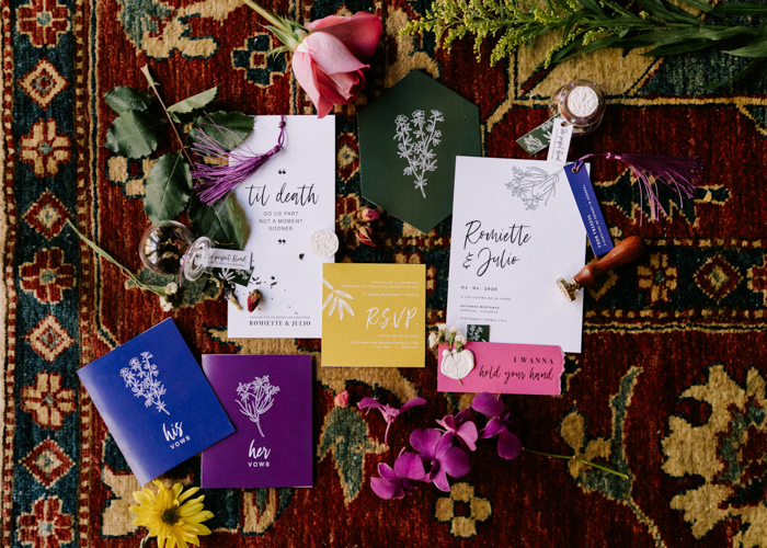 The wedding stationery was super colorful, with botanical prints and bold geometric shapes