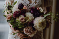 a dark and moody bouquet for a bride