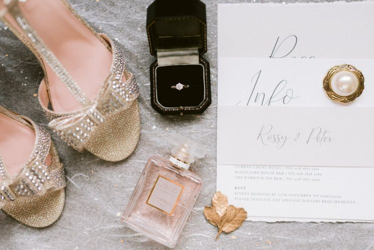 The wedding stationery was all-neutral, with a raw edge and elegant printing