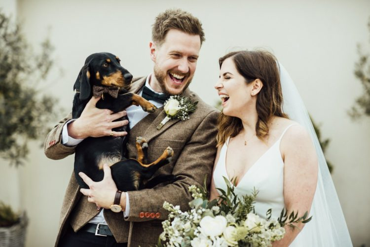 The couple's dog took part in the wedding, too