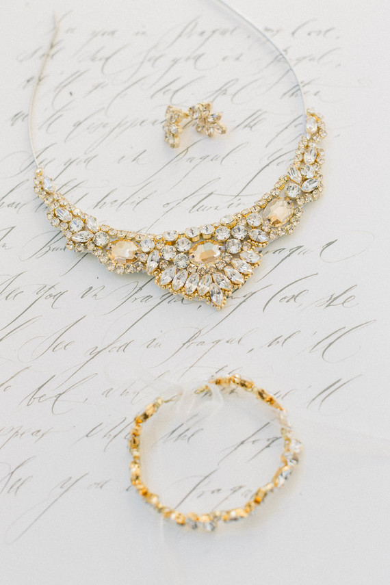 The wedding accessories were chunky gold, with statement rhinestones