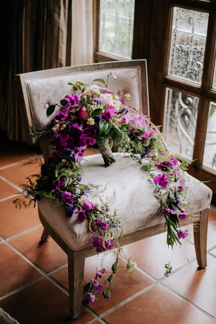 The wedding bouquet was done bright with pink, fuchsia, blush and neutral blooms and greenery