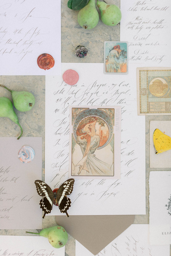 The wedding stationery was done chic and elegant, with beautiful paintings