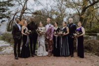 06 The bridesmaids were wearing mismatching velvet dresses, and the groomsmen were rocking mismatching suits