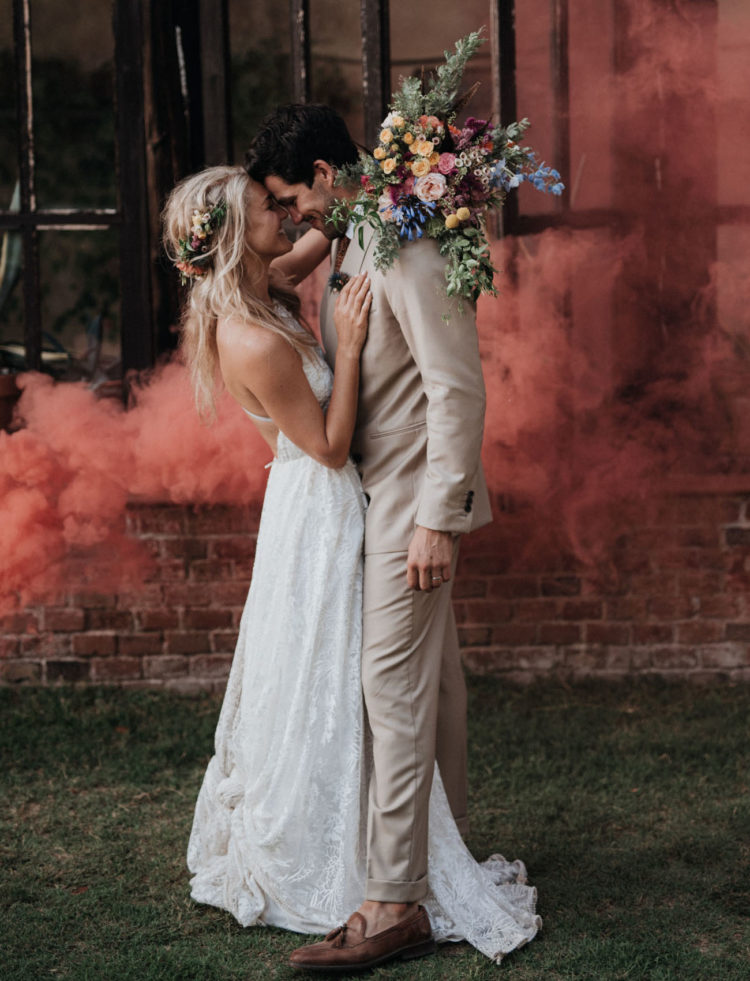 The couple loves smoke bombs and they were used for the portraits