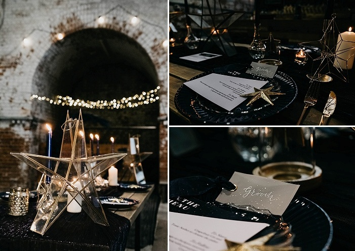 Chic and shiny details and candle holders added a cool touch to the table