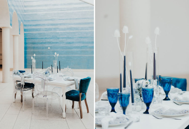The plates were printed, the glasses were bold blue and blue chairs added a colorful touch