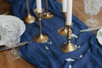 08 a bold blue gauze table runner like this one can substitute a floral or greenery table runner