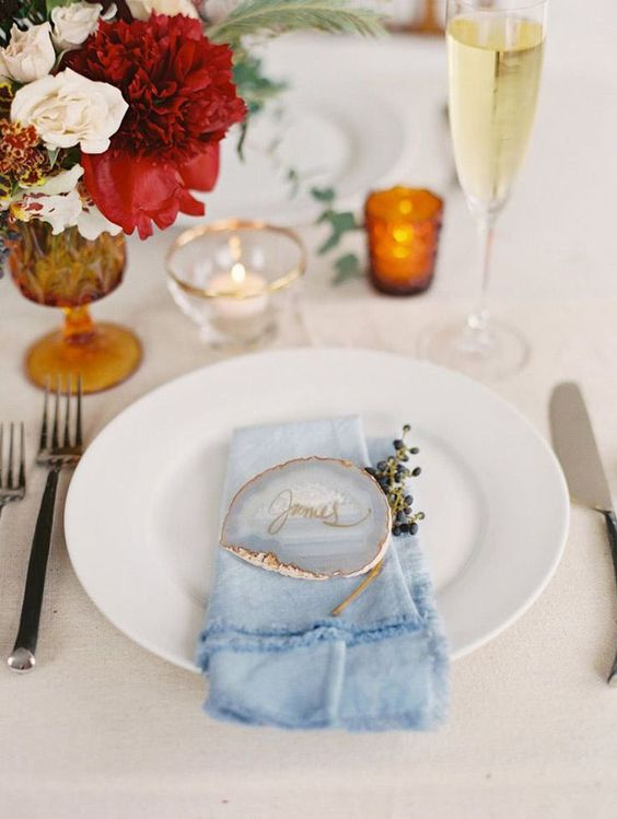 a chic light blue dip dyed napkin plus a matching geoge seating card are a cool combo