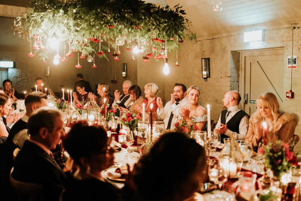 Everyone enjoy the intimate wedding with refined decor and fne dining