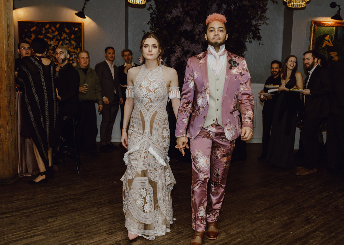 What a fashionable couple and what an unusual wedding