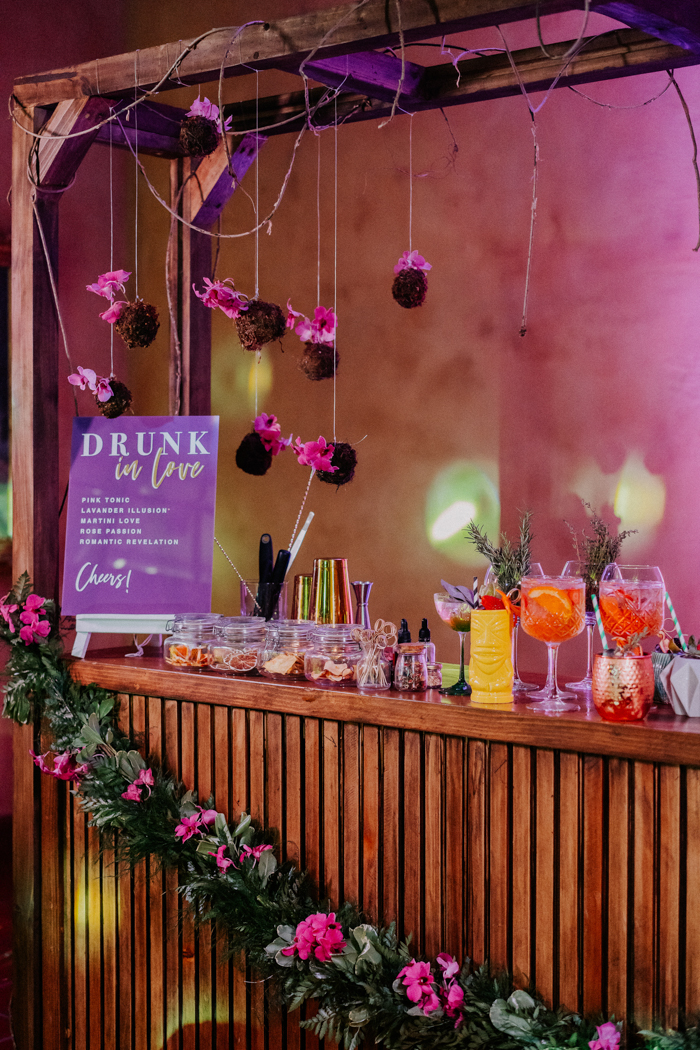 The wedding bar was super bright and colorful