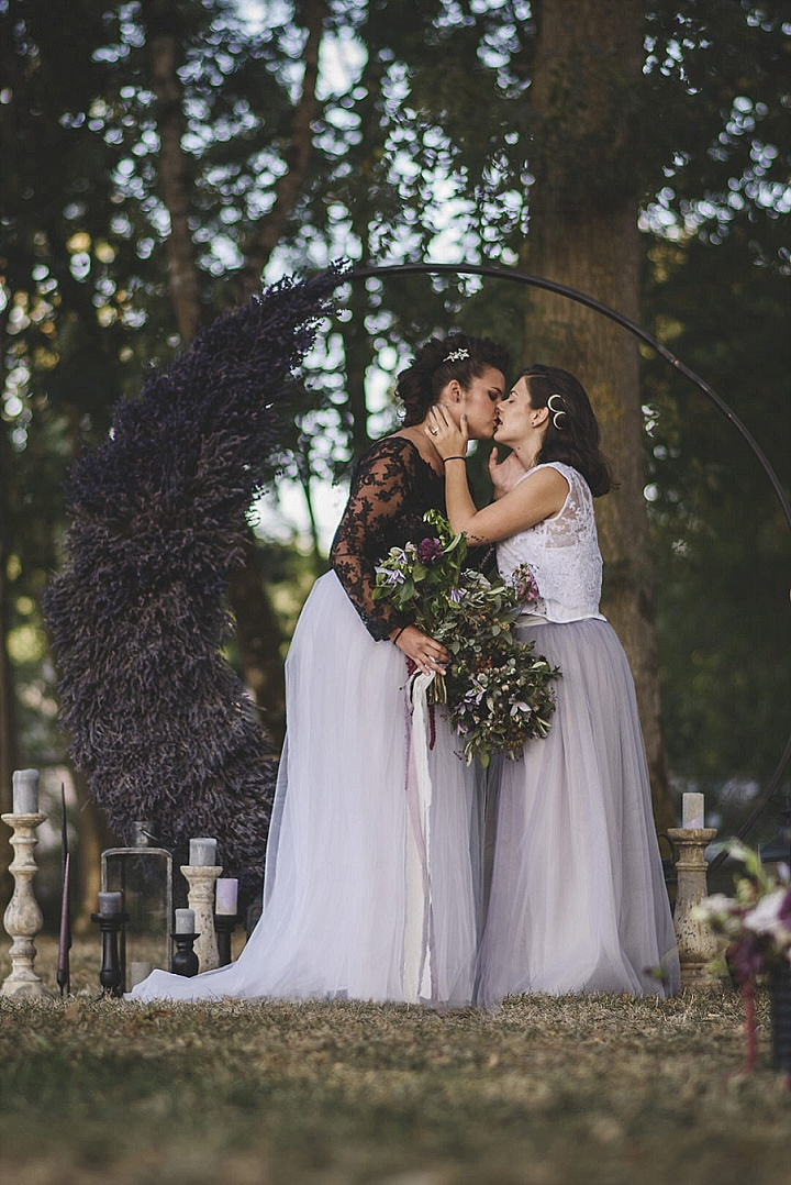 These brides participated in the wedding shoot in Provence, which was done with edgy and bold touches