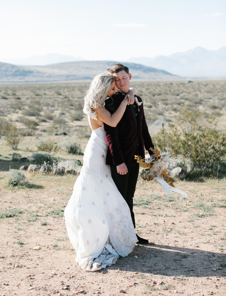 This beautiful couple went for a lovely festival desert wedding hiring an Airbnb