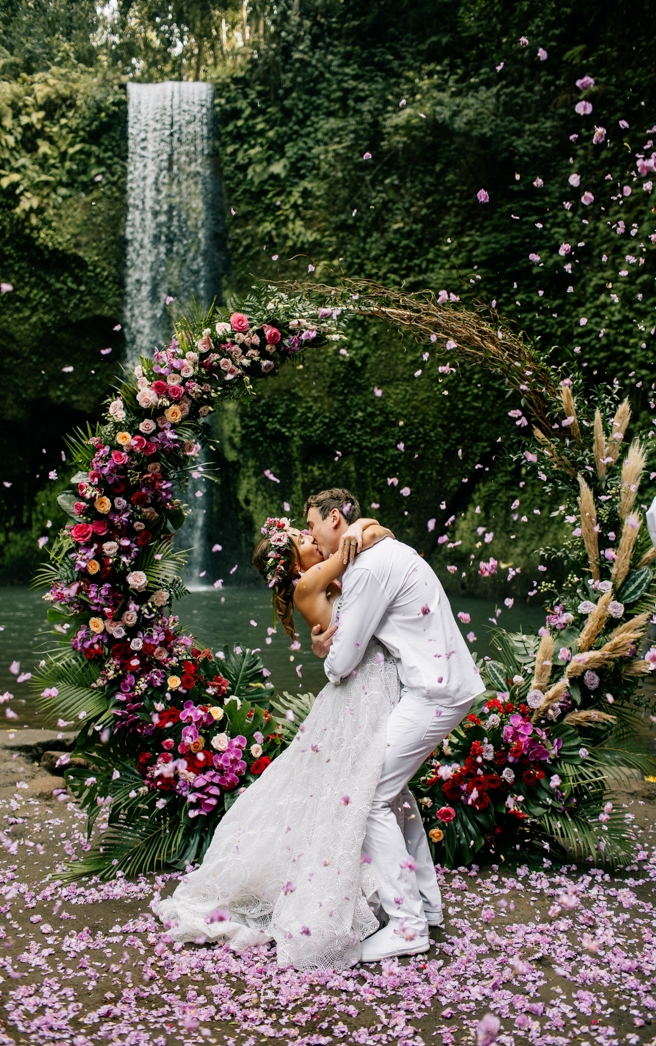 Colorful Boho Waterfall Elopement In Bali