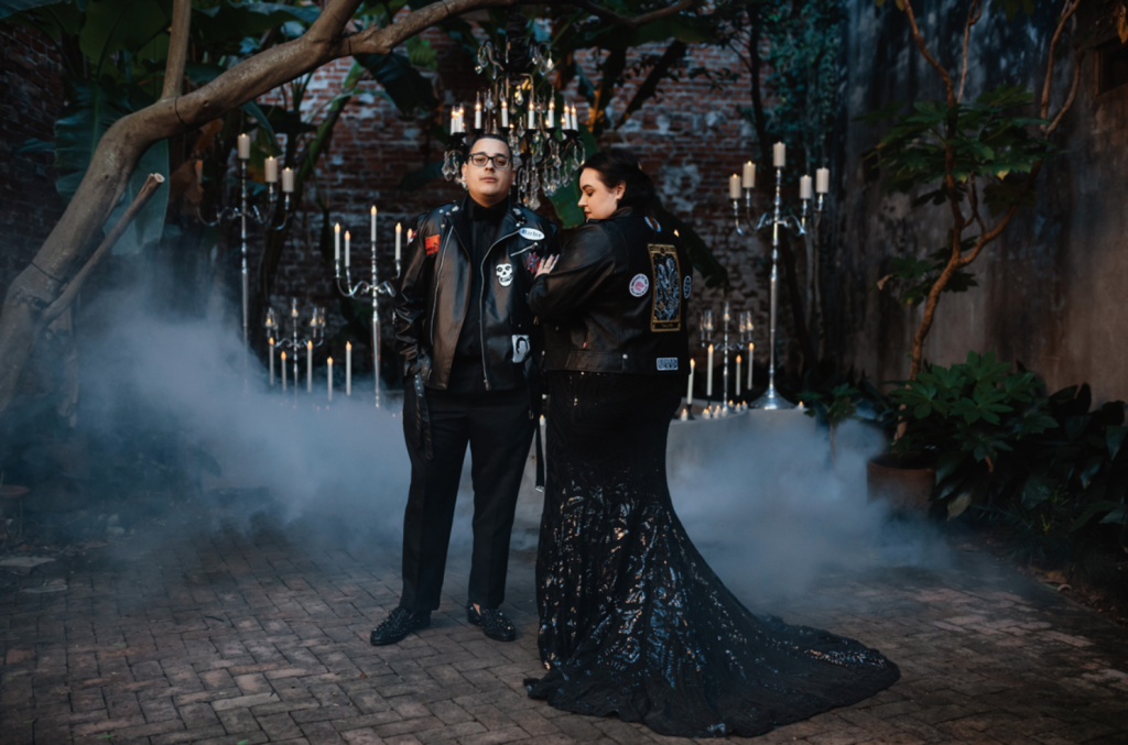 This couple went for a gorgeous occult and tarot wedding with no flowers and lots of candles