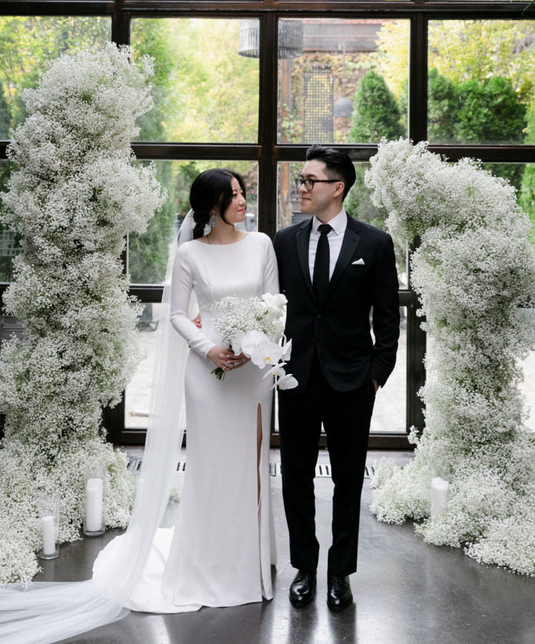 This couple went for a minimalist wedding in an industrial venue to show off their style