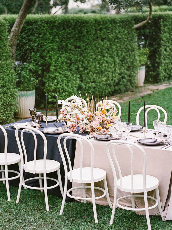 This wedding shoot was done in black and blush, with touches of ivory and gold and an edge