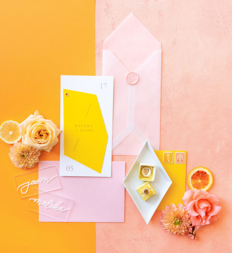 The wedding stationery was done bright, with geometric details and looked super rad