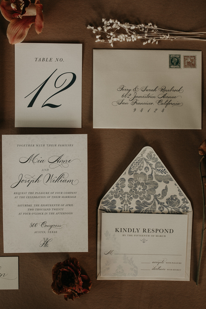 The wedding stationery was done in black and white, with floral lining and chic calligraphy