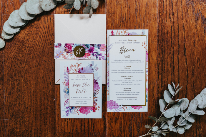 The wedding stationery was super bright and colorful, with bold blooms painted
