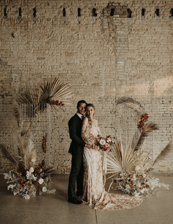 pampas grass is always a great choice to decorate a wedding ceremony space