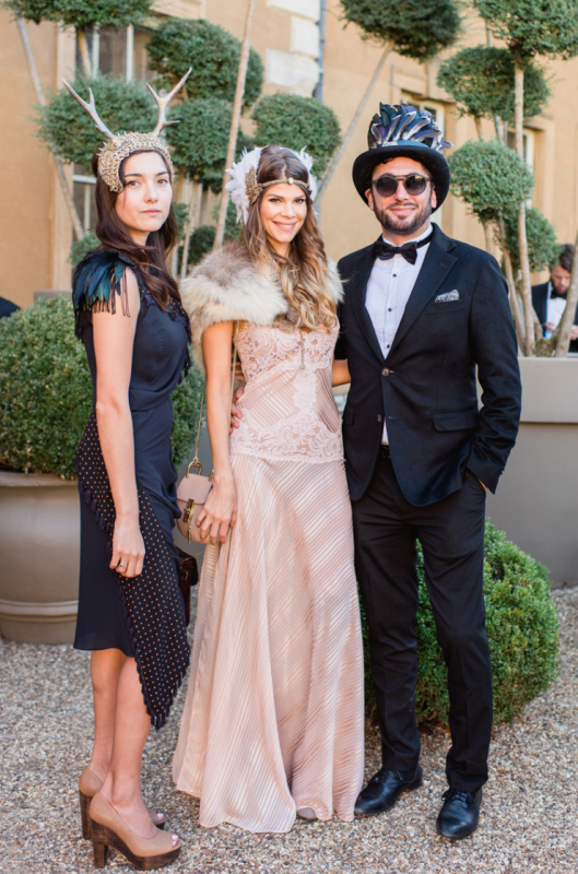 The guests supported the couple wearing crazy looks, headpieces and coverups