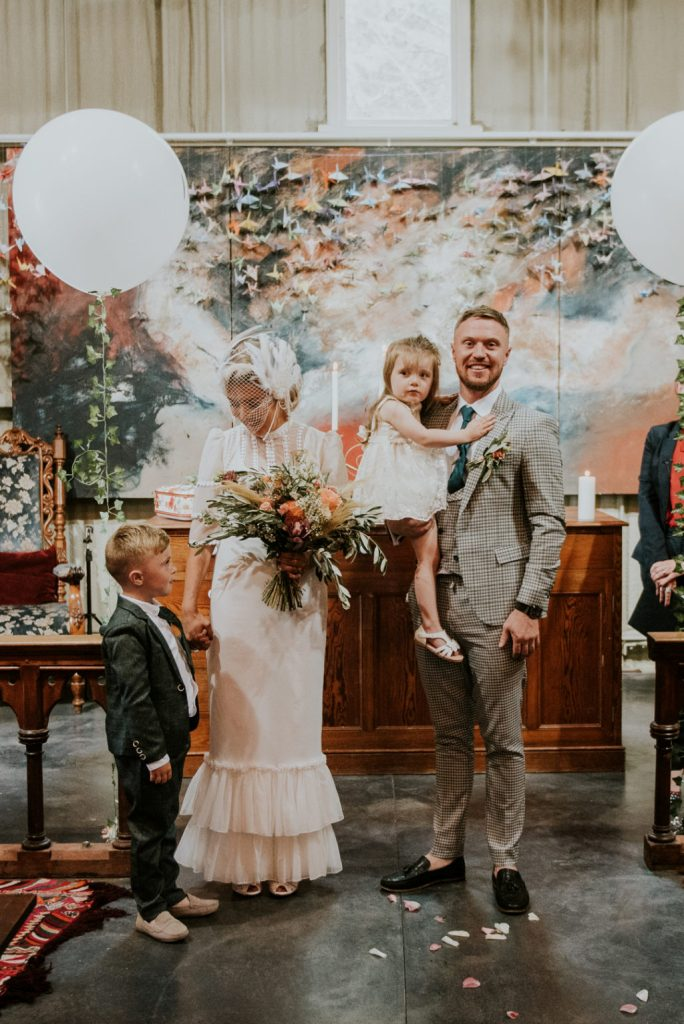The couple's children took part in the wedding, too