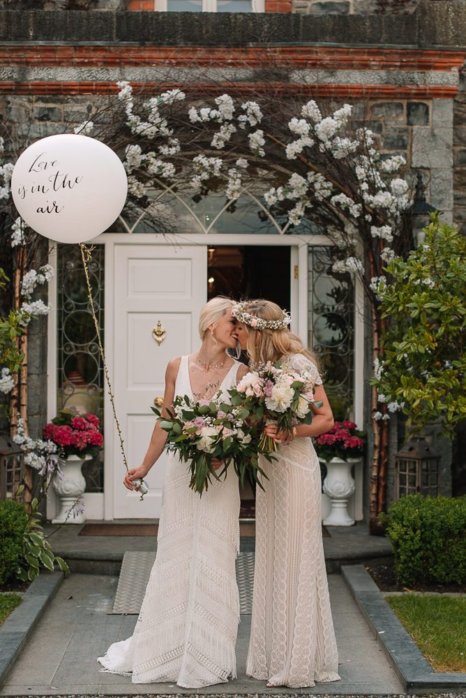 The wedding bouquets were done with white and pink blooms and foliage